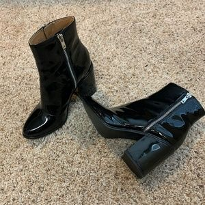 Calvin Klein Patent Leather Ankle Boot